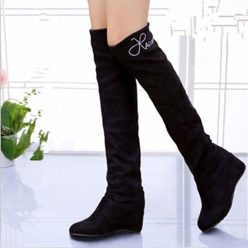超顯瘦秋季過膝長靴高筒靴內增高女靴長筒靴瘦腿彈力單靴jiumei003_1