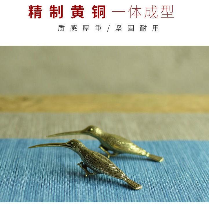 新貨實心銅翠鳥擺件 銅長嘴小鳥銅鳥仿真鳥啄木鳥茶道茶藝銅雕件銅器