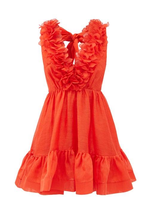 Zimmermann - Lovestruck Garland Plunge-neck Linen-blend Dress - Womens - Red