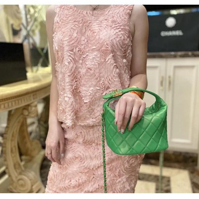 Chane1 小香2020新款菱格小羊皮hobo 飯盒包 時尚百搭鏈條包 手拎包 單肩包 斜挎包 時尚女包 流行包包