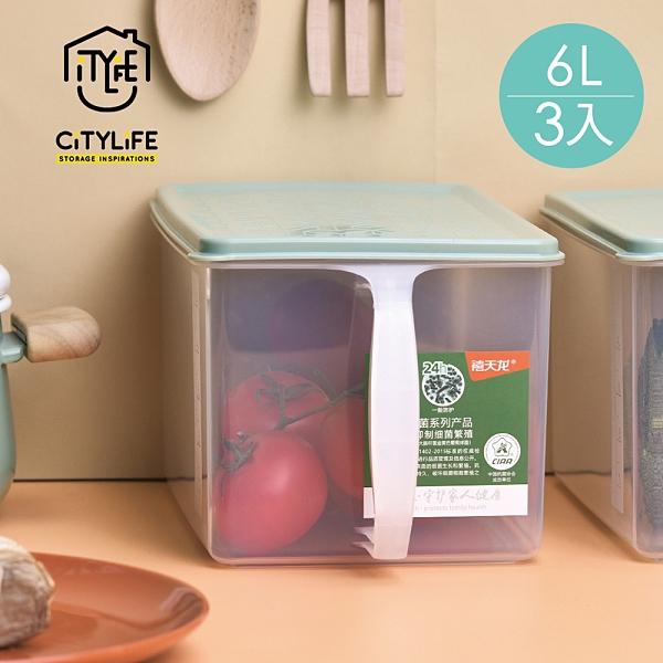 【新加坡CITYLIFE】奈米抗菌PP提把式雜糧穀物保鮮盒-6L-3入 (抑菌 防潮 防蟲 儲米桶 飼料桶)