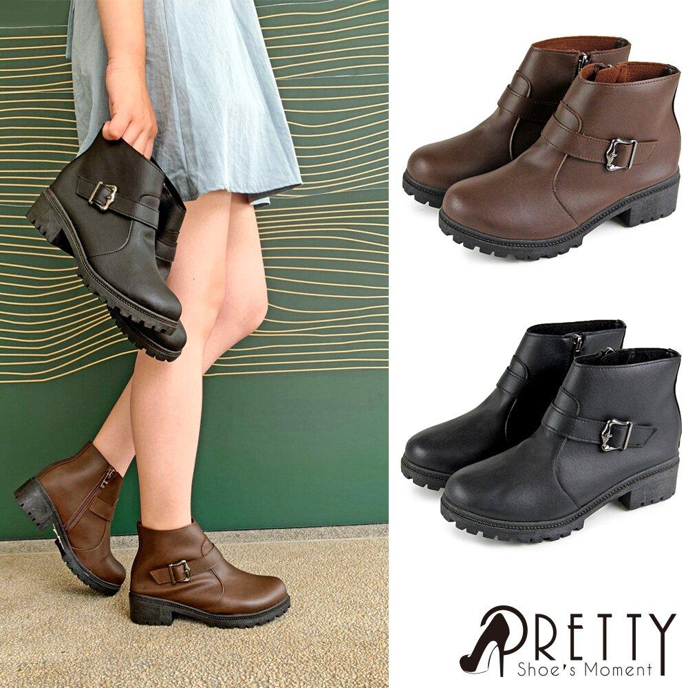 【Pretty】時尚金屬釦內側拉鍊圓頭粗低跟短靴BA-2H667