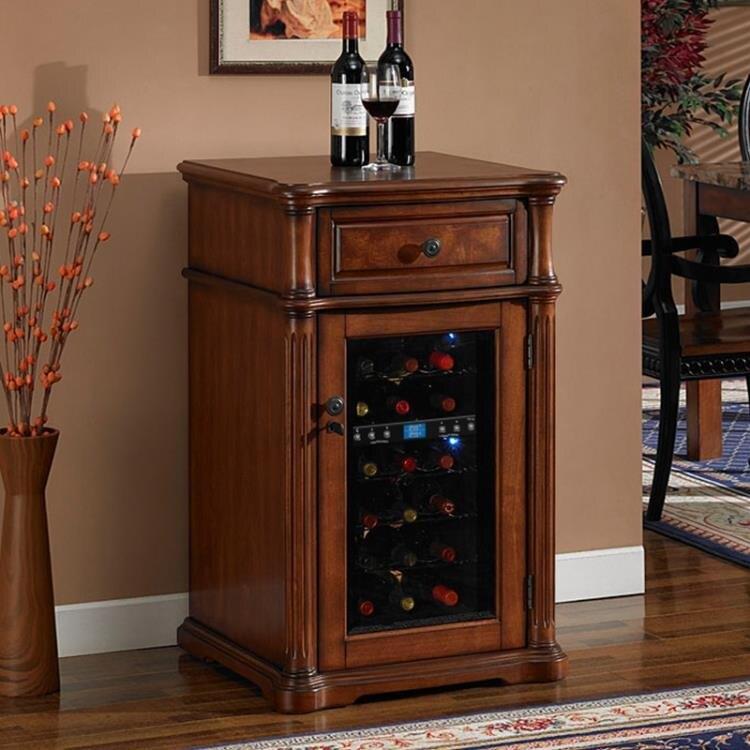 電子紅酒櫃 紅酒櫃恒溫酒櫃 小型家用實木恒濕茶葉電子冰箱雪茄櫃 冷藏櫃冰吧 DF