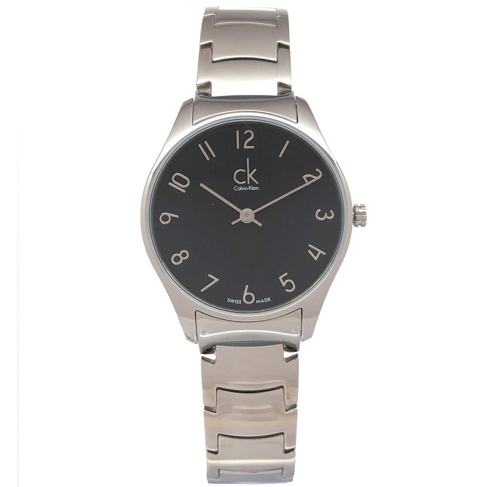 CK Calvin Klein 極簡阿拉伯數字刻度手錶(K4D2214X)-黑面x銀色/32mm