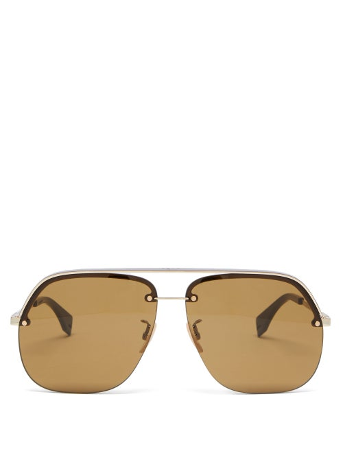 Fendi - Aviator Metal Sunglasses - Mens - Gold