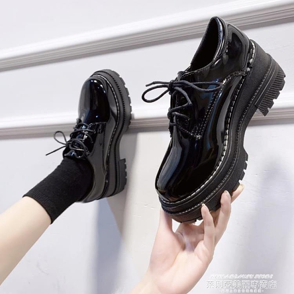 小皮鞋 英倫風JK制服日系小皮鞋女冬季新款百搭厚底黑色秋季單鞋 新品