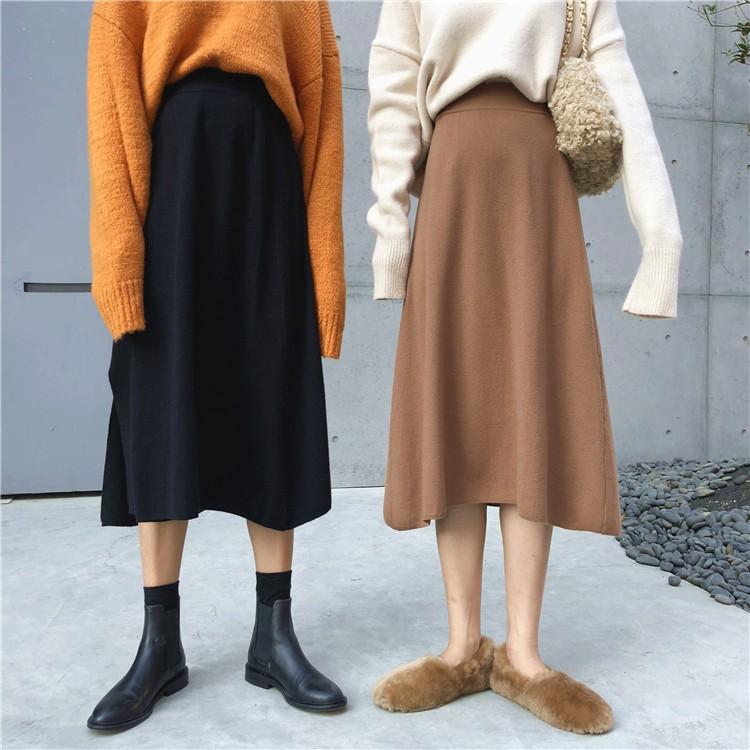 秋冬下擺開叉針織半身裙前後可兩穿A字裙