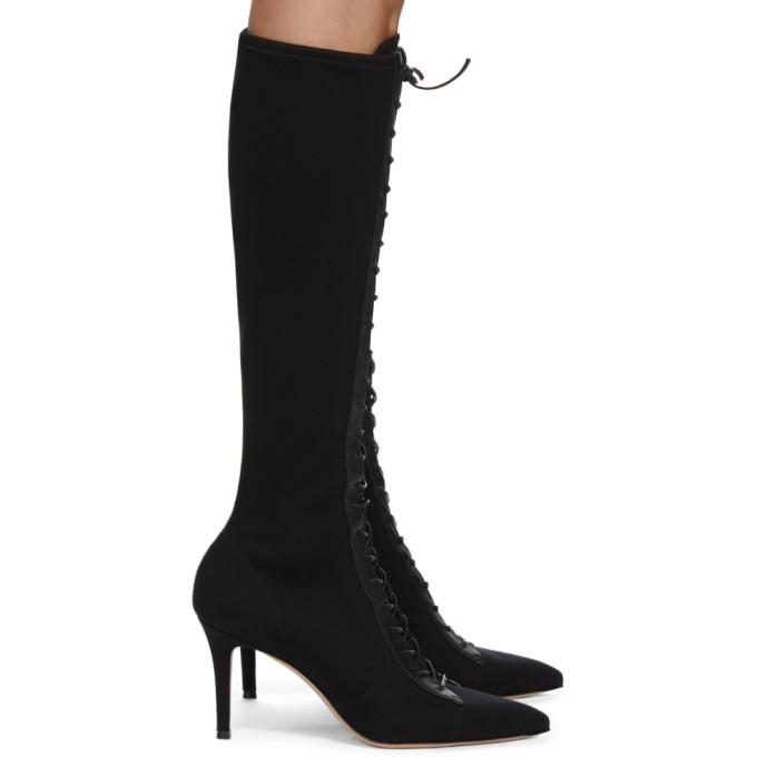 Gianvito Rossi 黑色弹性高筒靴