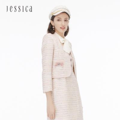 JESSICA - 經典蝴蝶結混紡花呢V領小香風短版外套