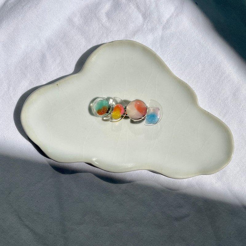 調色盤系列 圓形幾何簡約油畫風抽象樹脂透明手工髮夾