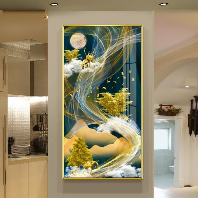 招財鹿北歐輕奢晶瓷畫入戶客廳裝飾畫豎走廊玄關掛畫過道背景壁畫MBS