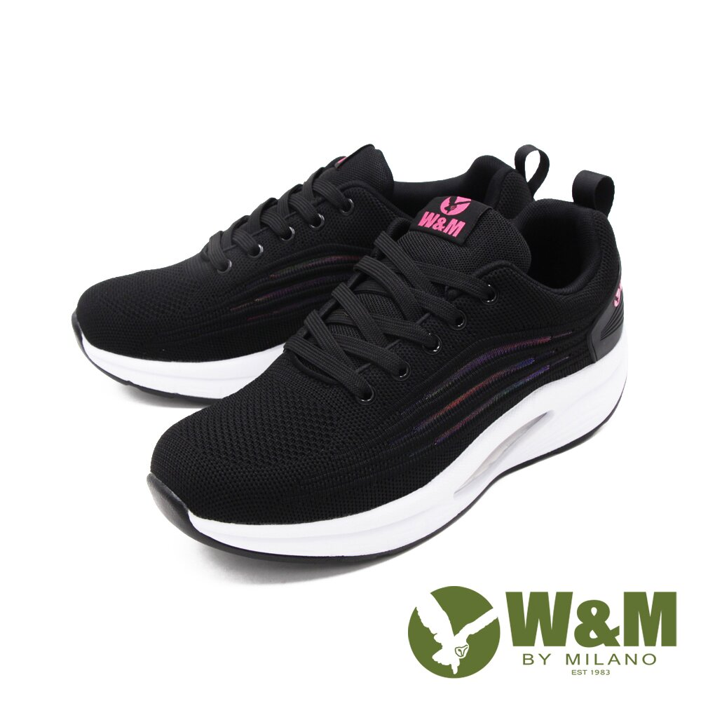 W&M(女)飛織網布綁帶健塑鞋 厚底鞋 女鞋-黑(另有粉)
