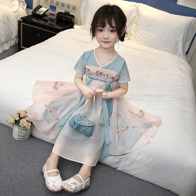【現貨】漢服女童中國風寶寶唐裝2020夏裝新款雪紡兒童襦裙刺繡復古連衣裙