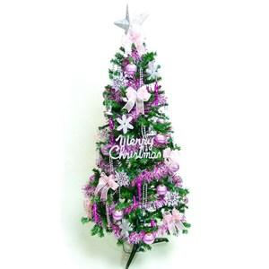 摩達客 超級幸福15尺一般型綠聖誕樹+銀紫色系配件組(不含燈)