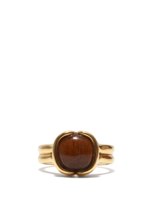 Fernando Jorge - Cushioned Tiger's Eye & 18kt Gold Ring - Mens - Yellow Gold