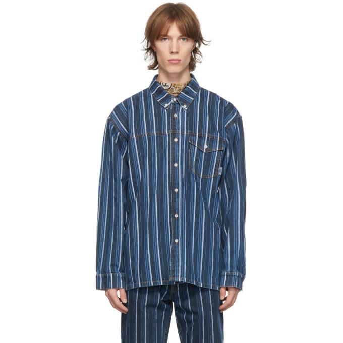 Martine Rose 蓝色 and 黑色条纹牛仔衬衫