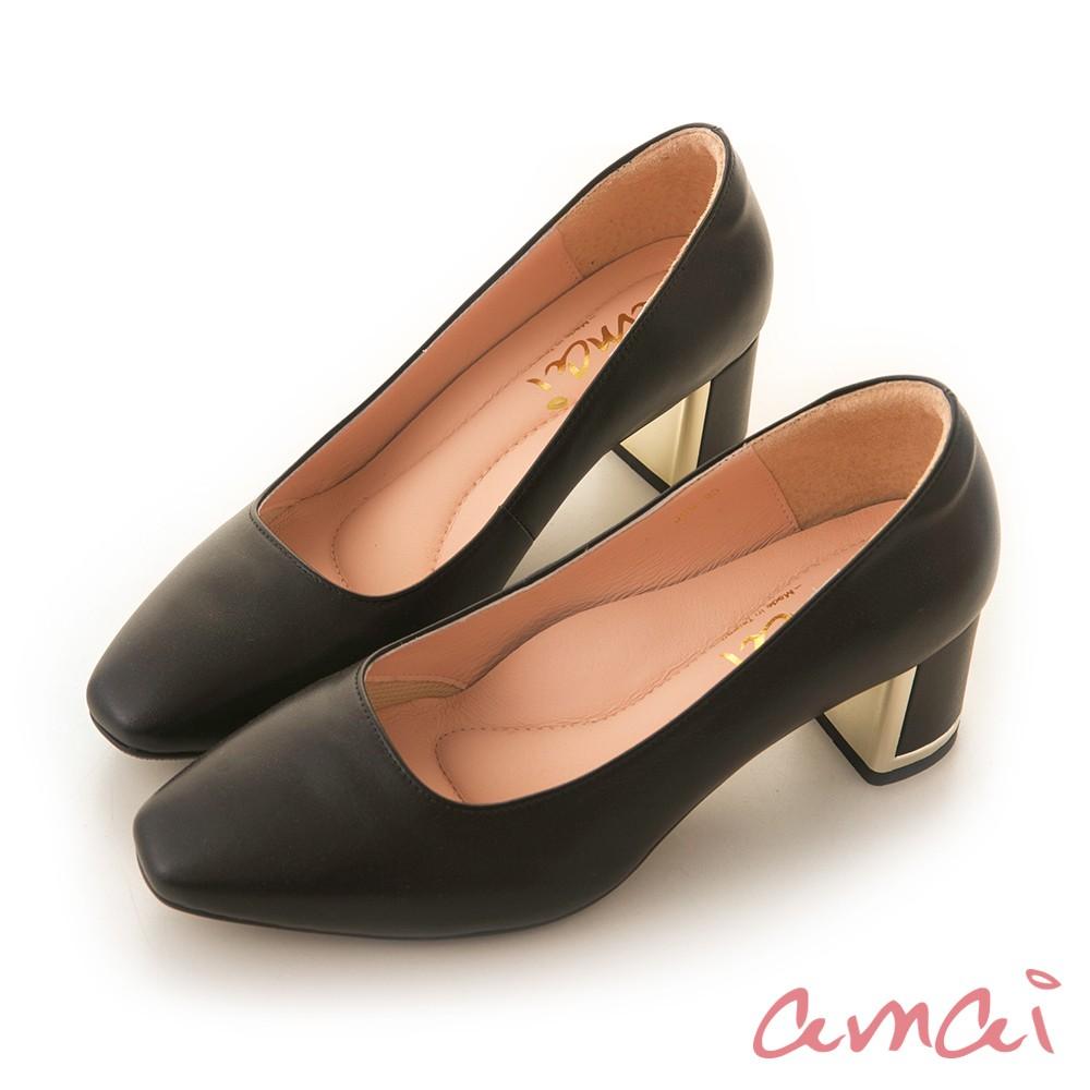 amai 《半半系列》MIT台灣製造。羊皮方頭金屬粗跟鞋 黑 J09-99BK