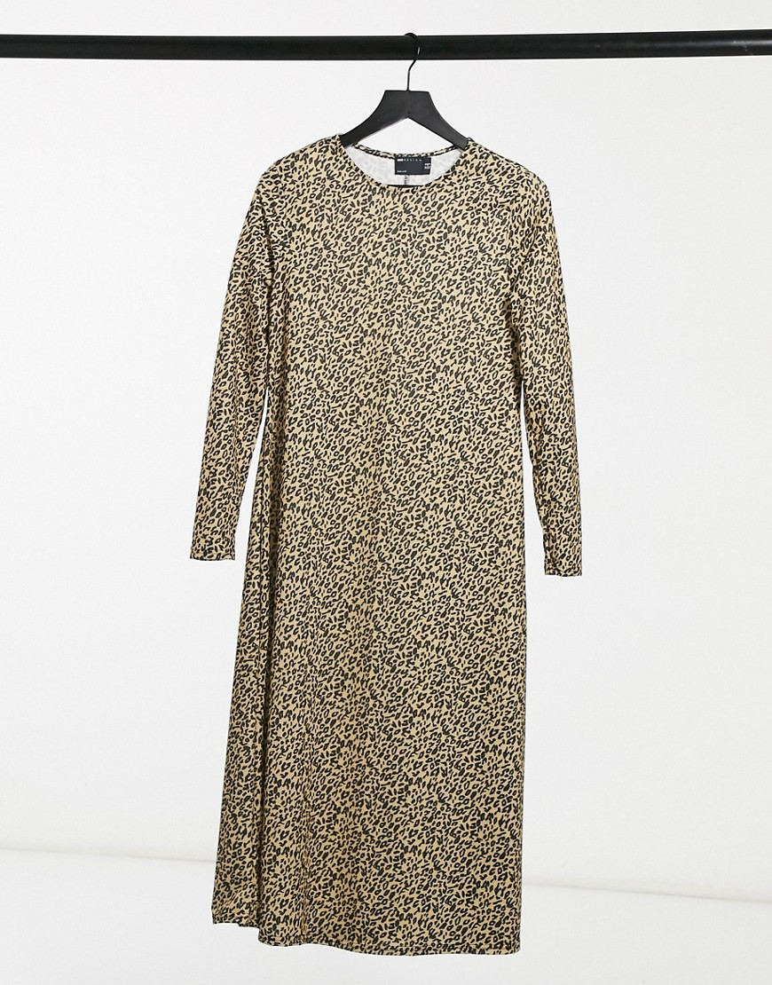 ASOS DESIGN long sleeve midi dress in leopard print-Brown
