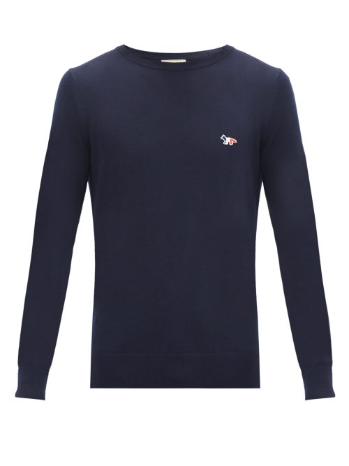 Maison Kitsuné - Tricolour Fox-patch Wool Sweater - Mens - Navy