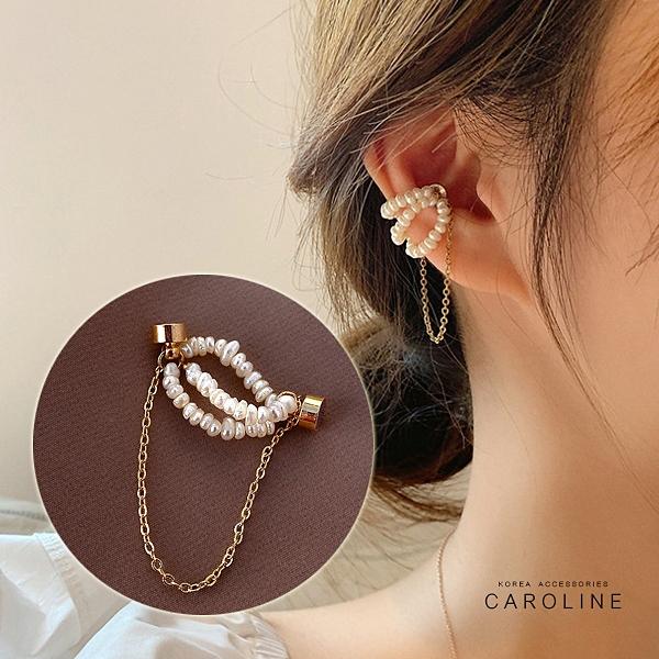 《Caroline》法式古典三層迷你淡水珍珠磁吸式高級訂製款無耳洞耳夾無痛耳骨夾(單只)72591