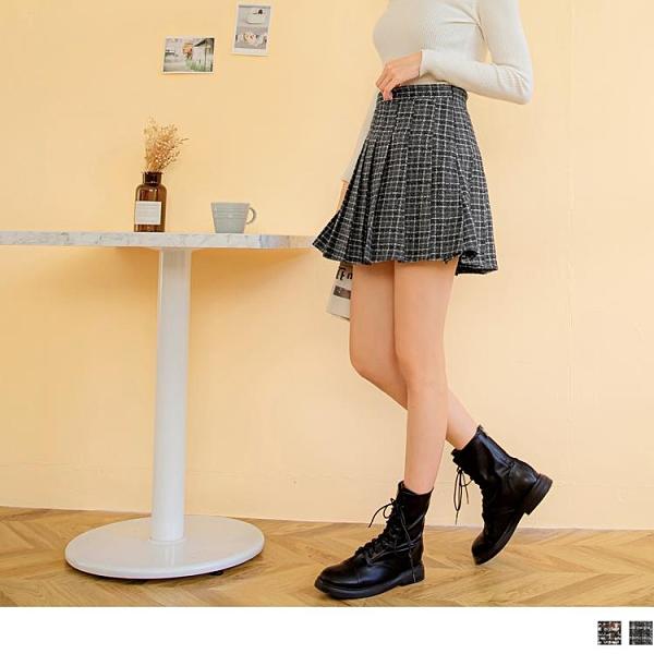 《CA2138-》保暖學院文青風配色格紋內裡褲百褶短裙 OB嚴選