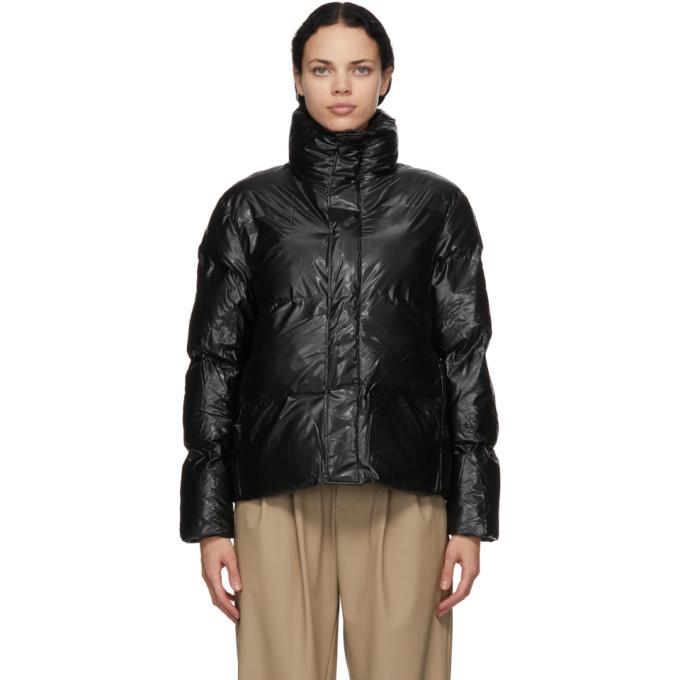 RAINS 黑色 Boxy 填充夹克
