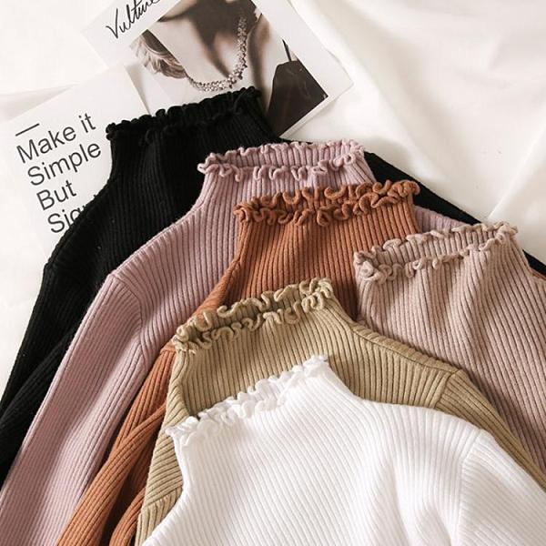 毛衣 2020年秋冬新款修身加厚內搭冬季半高領木耳邊針織衫毛衣女打底衫 南風小鋪
