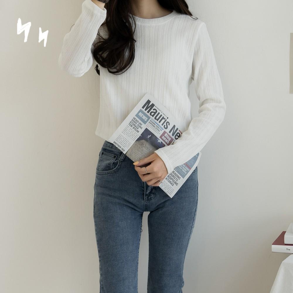 洋芋妹-正韓素色彈性直條壓紋針織長袖上衣 3色【SA547091】