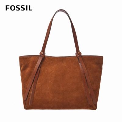 FOSSIL Rayna 波西米亞結繩托特包-棕色 SHB2648210
