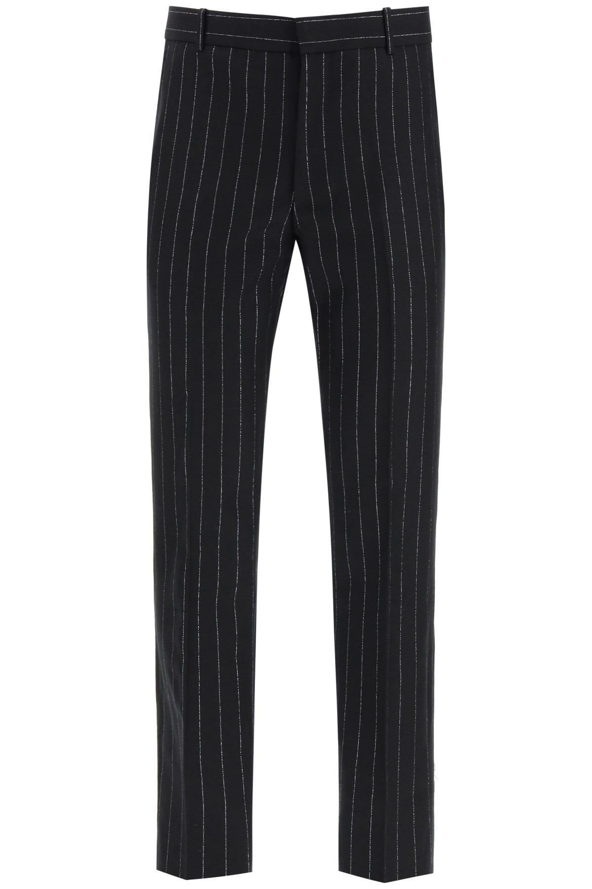 ALEXANDER MCQUEEN LUREX PINSTRIPE WOOL TROUSERS 50 Black, Silver Wool