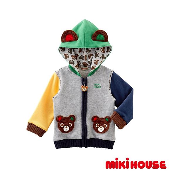 MIKI HOUSE 普奇熊可愛連帽造型外套