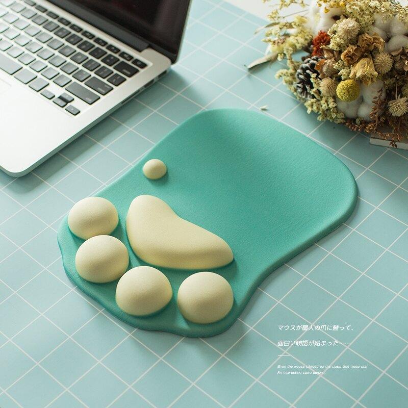 可愛貓爪鼠標墊護腕墊子韓國創意辦公膠墊動漫女生萌物個性鼠標墊