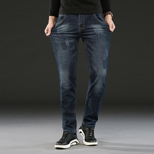 商務男士牛仔褲潮牌寬鬆直筒長褲彈力修身時尚褲【全館免運】