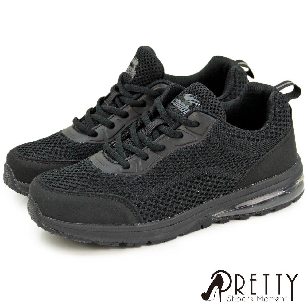 【Pretty】素面透氣網布綁帶氣墊休閒鞋N-22574