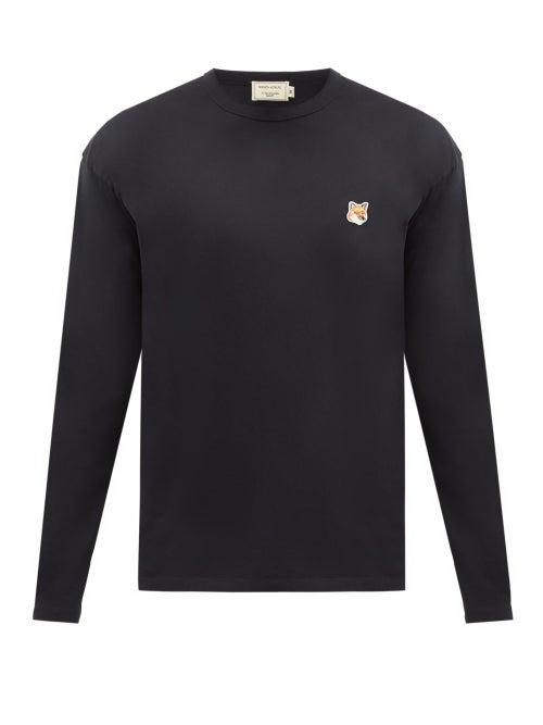 Maison Kitsuné - Fox Head-patch Cotton-jersey Long-sleeved T-shirt - Mens - Black