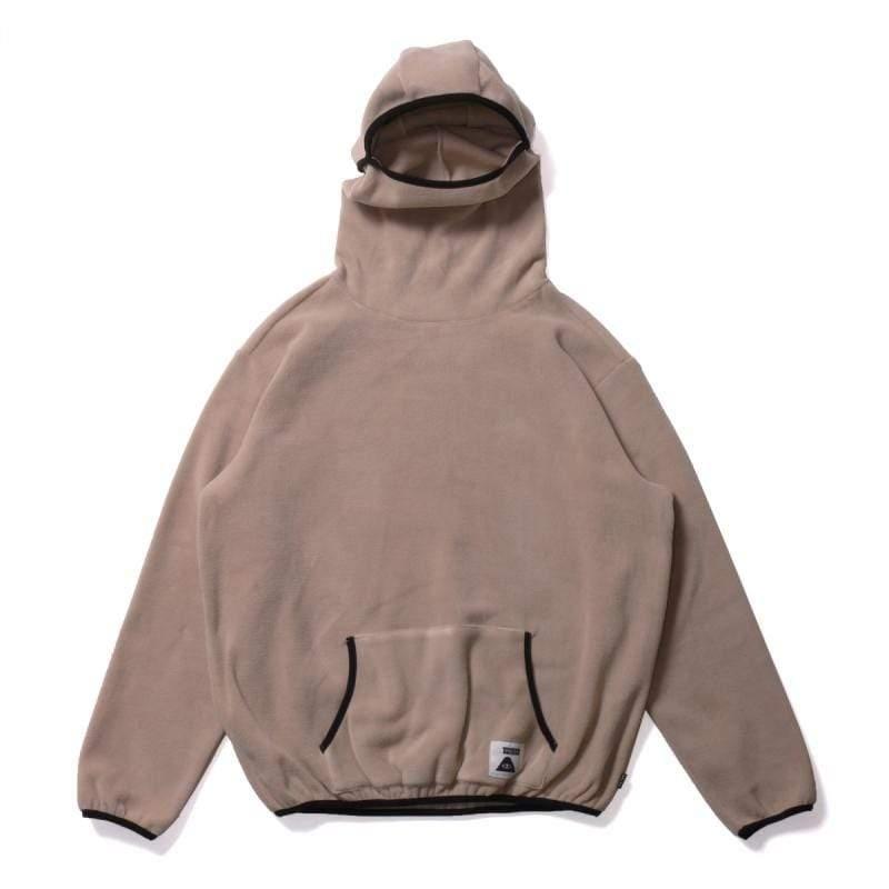 日本限定 刷毛連帽面罩上衣 / 保暖套頭上衣 / 卡其色 尺寸 : L