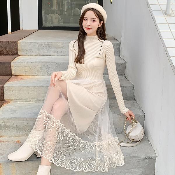 VK精品服飾 韓系半高領針織毛衣裙拼接網紗蕾絲長袖洋裝
