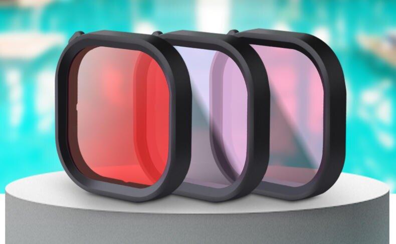 【中壢NOVA-水世界】GoPro HERO 9【原廠防水殼 專用濾鏡】潛水濾鏡 紫色 紅色 粉紅 深潛 浮潛 較正顏色