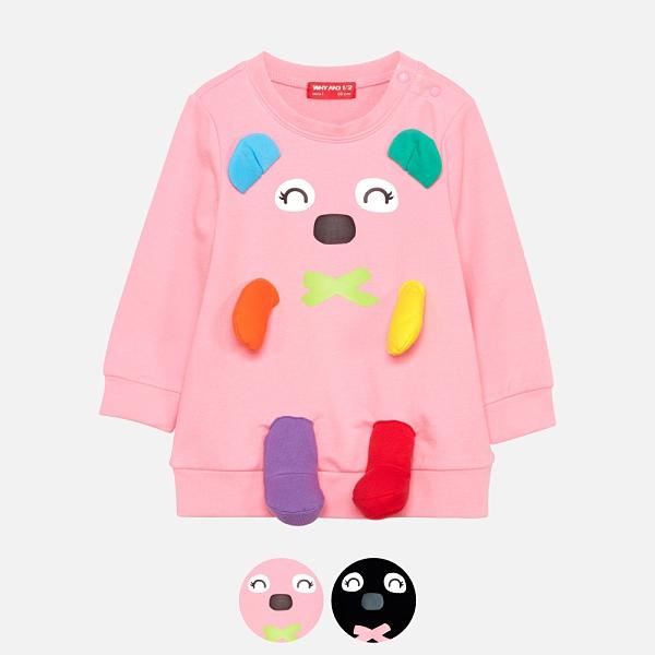 WHY AND 1/2 mini 立體普普熊棉質萊卡長版T恤 多色可選 1Y~4Y