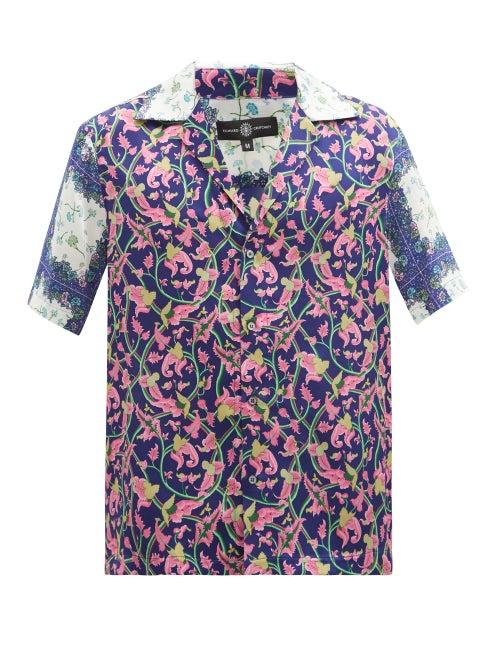 Edward Crutchley - Short-sleeved Floral-print Silk Shirt - Mens - Purple Multi