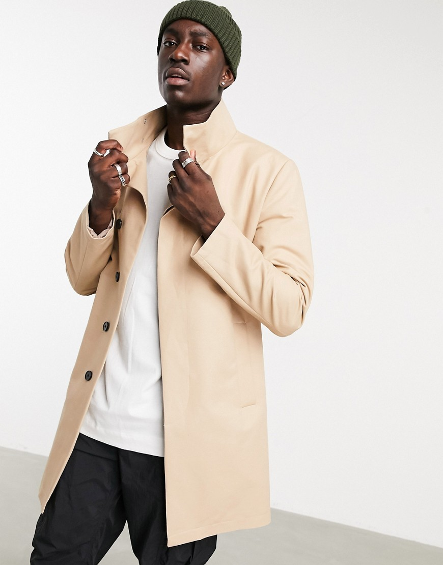 ASOS DESIGN trench coat with funnel neck in stone-Beige