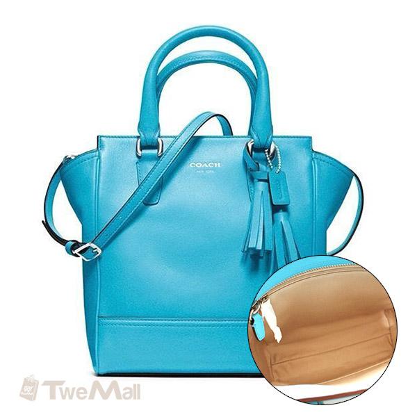 COACH流蘇皮革素面手提斜背包(藍)
