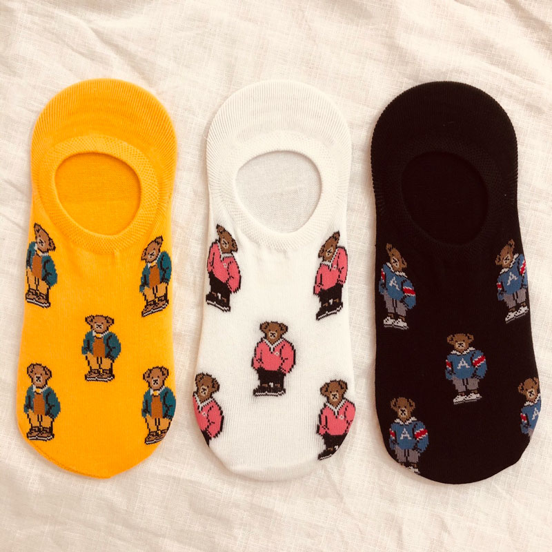 Chemistry_Girls - 韓國 KRSK0125 女款 滿版小熊 船型襪 / 隱形襪 (三色)