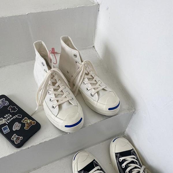 X-INGCHI 男女款白色開口笑高筒帆布鞋-NO.X0272