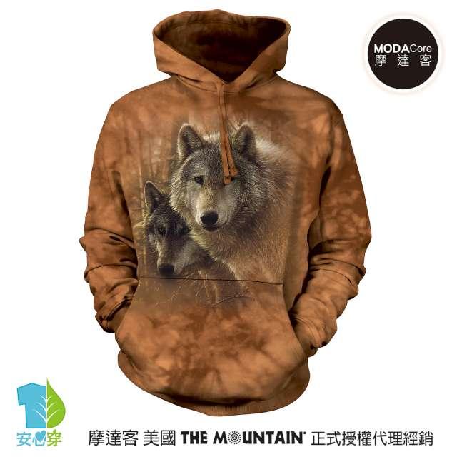 摩達客-預購-美國The Mountain 森林狼王子 環保藝術長袖連帽T恤
