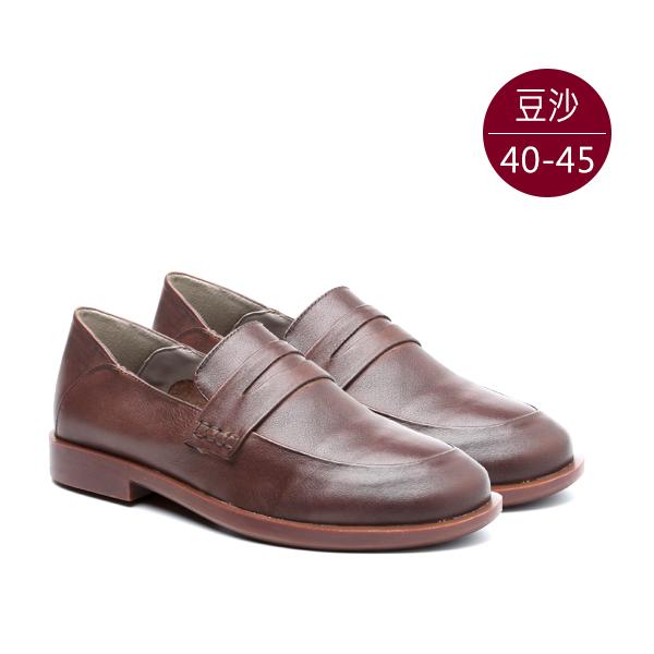 中大尺碼女鞋0110真皮素面圍尖頭紳士鞋/平底鞋 40-45碼 172巷鞋舖【MMJ-611-1】(預購)
