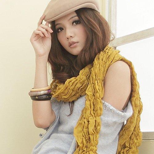 I-shi 暖呼呼~雙格混織厚款圍巾(芥黃)