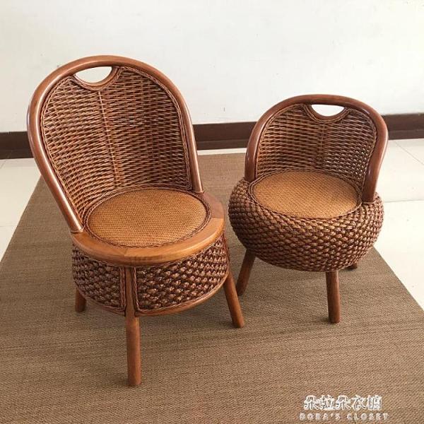 天然藤編小椅子靠背坐凳家用休閒座椅板凳實木客廳沙發換鞋凳矮凳 朵拉朵