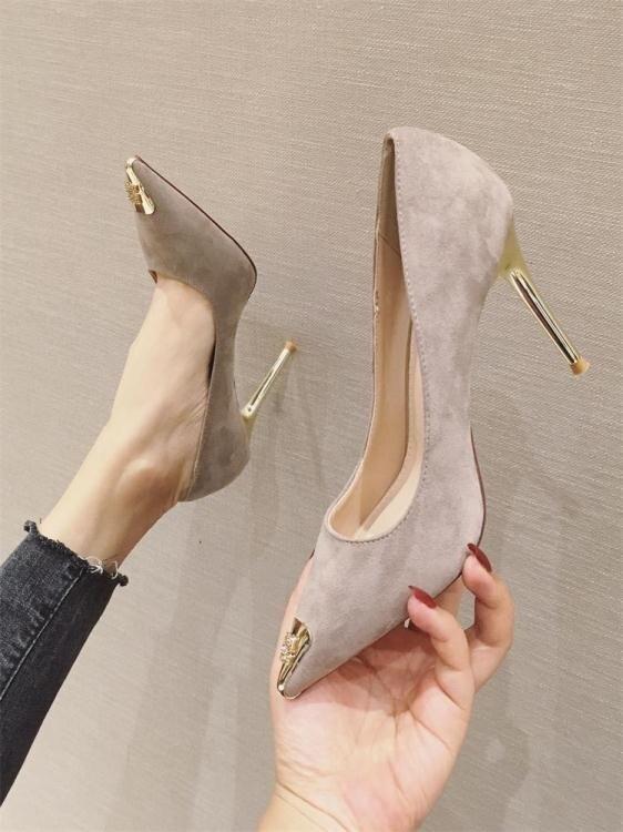 高跟鞋2020春季新款時尚百搭法式少女淺口尖頭細跟性感黑色單鞋潮 愛尚優品 雙十一購物節