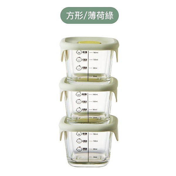 LockLock 樂扣樂扣 寶寶副食品耐熱玻璃調理盒230mlX3入-方形(薄荷綠)[衛立兒生活館]